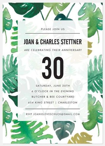 Hot Tropic Anniversary Invitations
