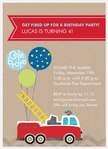 Fired Up Kids' Birthday Invitations