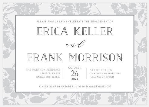 Antique Garden Engagement Party Invitations