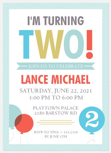 Bold Two Kids' Birthday Invitations