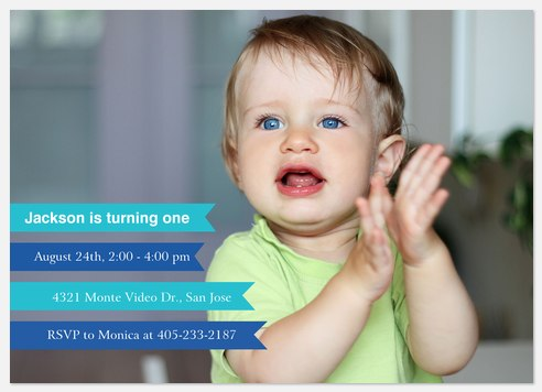 Blue Banners Kids' Birthday Invitations
