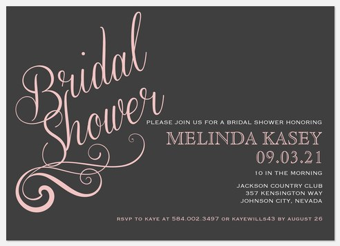 Rose Swirl Bridal Shower Invitations