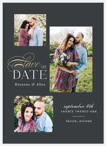 Brilliant Trio Save the Date Photo Cards