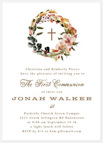 Florist Wreath First Communion Invitations