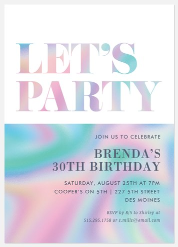 Holo Rainbow Adult Birthday Invitations