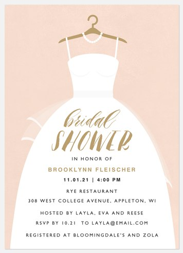 White Dress Bridal Shower Invitations