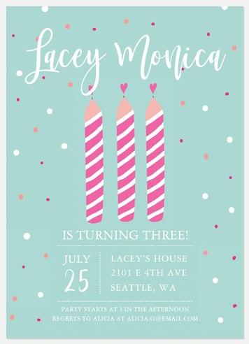 Striped Candles Kids' Birthday Invitations