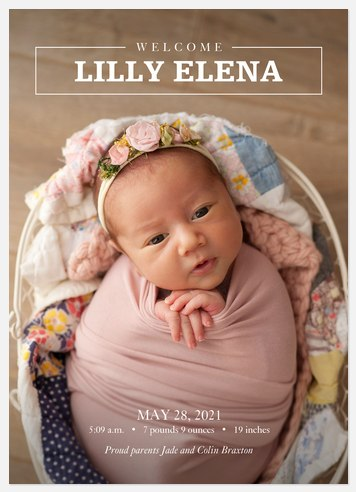Modern Gift Baby Birth Announcements