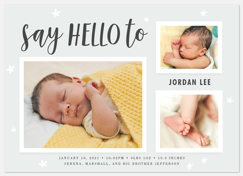 Say Hello Baby Birth Announcements