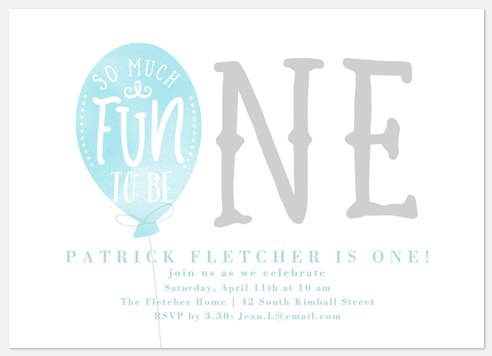 One Balloon Kids' Birthday Invitations