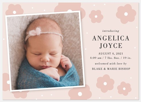 Delicate Blossoms Baby Birth Announcements
