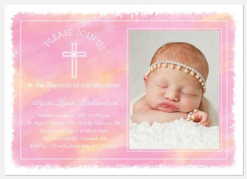 Whimsical Watercolor Baptism Christening Invitations