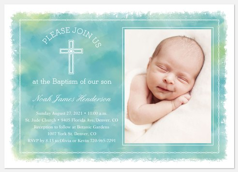 Dreamy Watercolor Baptism Christening Invitations