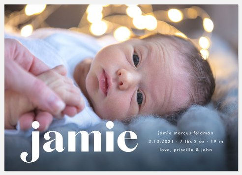 Simple Serif Baby Birth Announcements