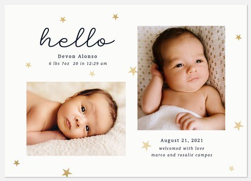 Sweet Stars Baby Birth Announcements