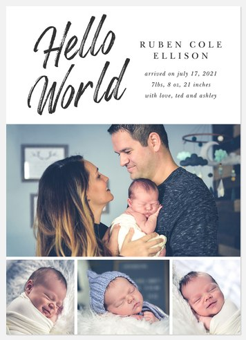 World Collage Baby Birth Announcements