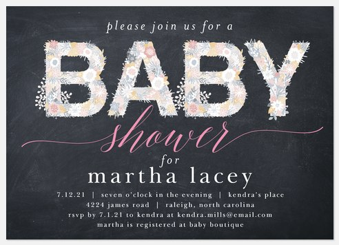 Chalkboard Floral Baby Shower Invitations