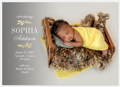 Gilded Laurels Baby Birth Announcements