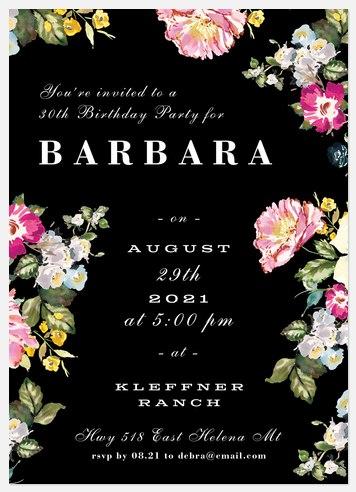 Midnight Florals Adult Birthday Invitations