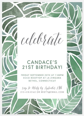 Botanical Leaves Adult Birthday Invitations