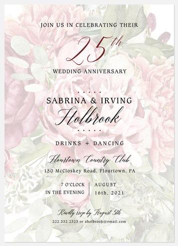 Antique Floral Anniversary Invitations