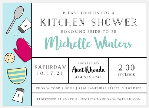 Kitchen Party Bridal Shower Invitations