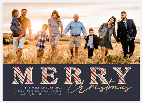 Tartan Letters Holiday Photo Cards