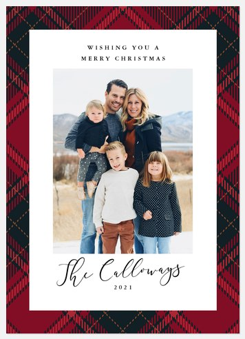 Modernist Plaid Holiday Photo Cards