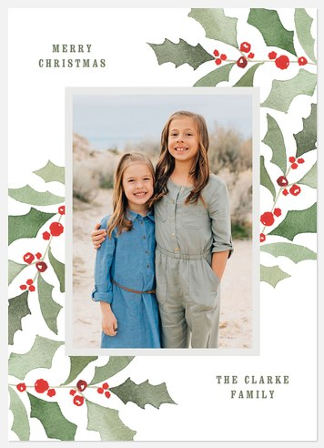 Watercolor Holly Holiday Photo Cards