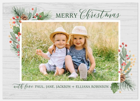 Greenery Frame Holiday Photo Cards