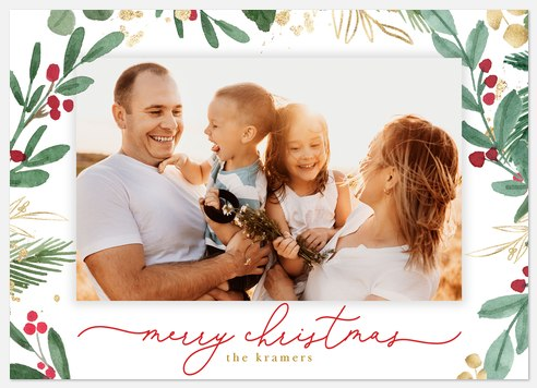 Golden Holly Holiday Photo Cards
