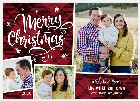 Cranberry Plaid Holiday Photo Cards