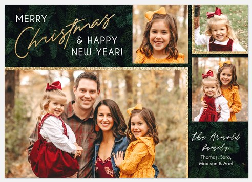 Vintage Pine Holiday Photo Cards