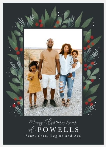 Classic Greenery Holiday Photo Cards