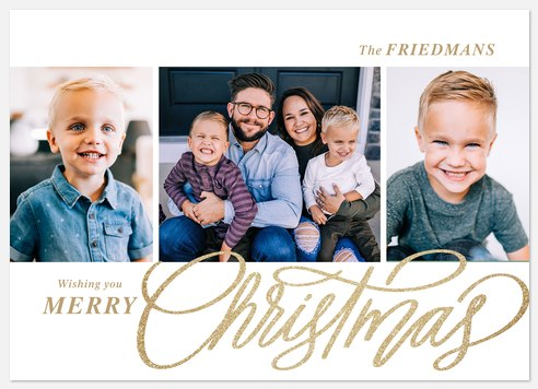 Glistening Lettering Holiday Photo Cards