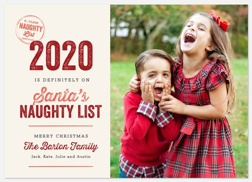 Naughty List Holiday Photo Cards