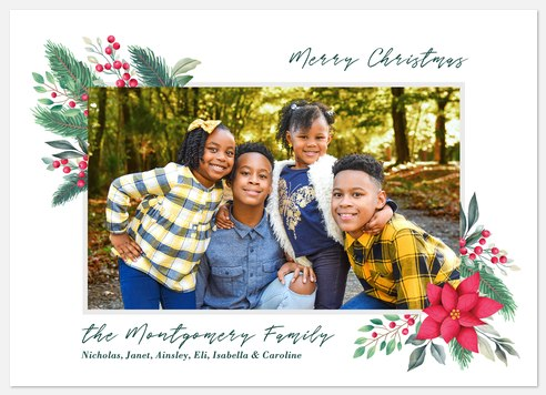 Poinsetta Corner Holiday Photo Cards