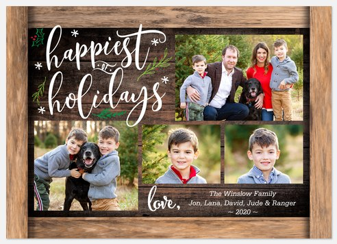Rustic Writing Holiday Photo Cards