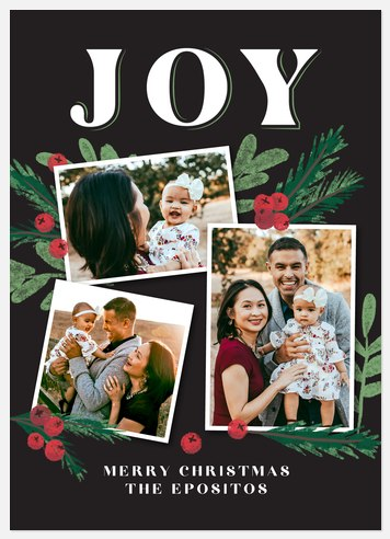 Chalked Greens Holiday Photo Cards