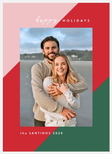 Bold Colorblocking Holiday Photo Cards