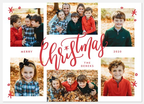 Peppermint Script Holiday Photo Cards