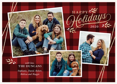 Flannel Pinboard Photo Holiday Cards