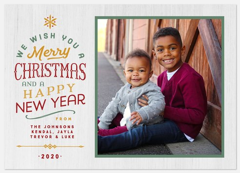 Folk Woodwork Holiday Photo Cards