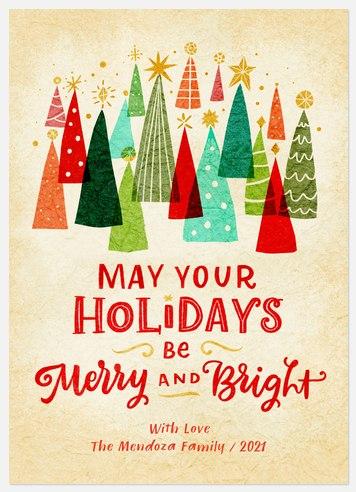 Retro Treeline Holiday Photo Cards
