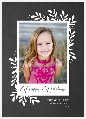 Chalkboard Laurels Holiday Photo Cards