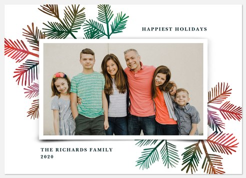 Colorful Pine Holiday Photo Cards