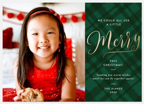 Extra Merry Plaid Holiday Photo Cards