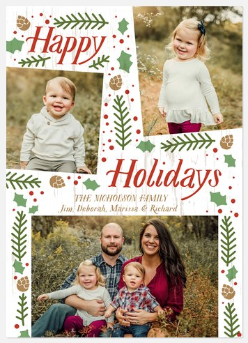 Folksy Flora Holiday Photo Cards