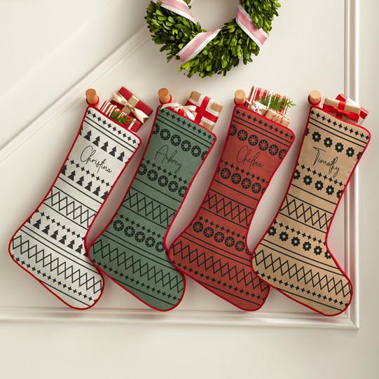 Boho Xmas Personalized Stockings