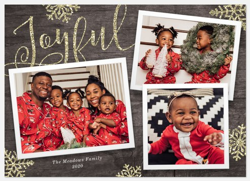Glitzy Snowflakes Holiday Photo Cards